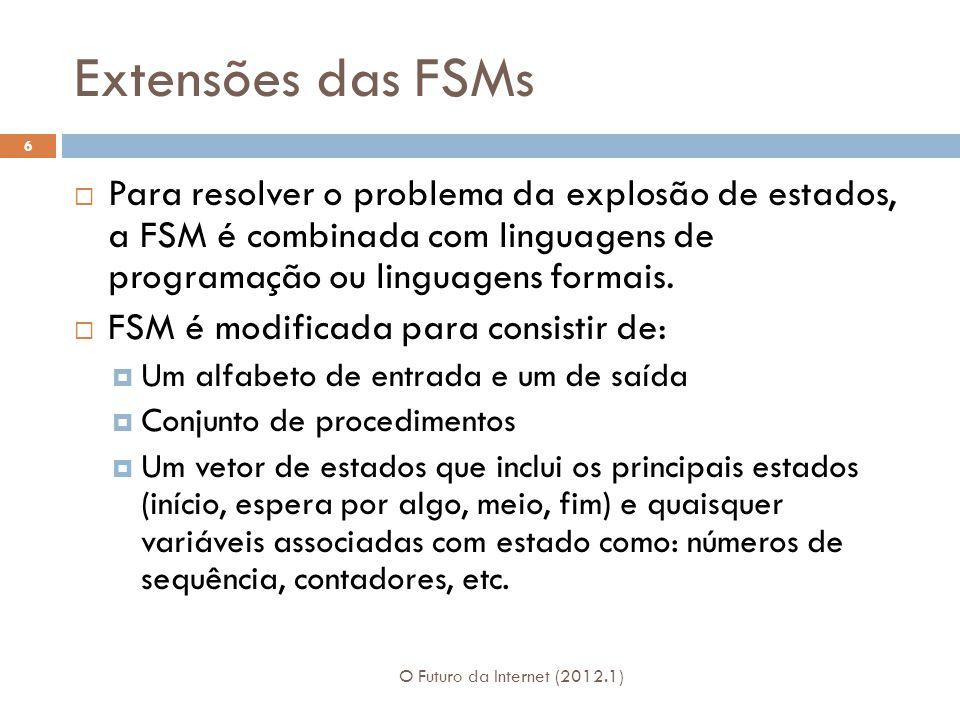 Extensões das FSMs Para resolver o problema da explosão de estados, a FSM é combinada com linguagens de programação ou linguagens formais.