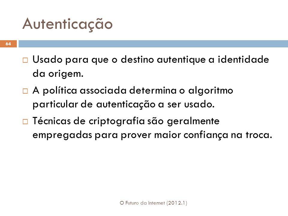 Autenticação Usado para que o destino autentique a identidade da origem.