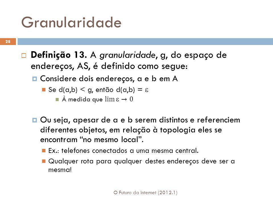 Granularidade Definição 13. A granularidade, g, do espaço de endereços, AS, é definido como segue:
