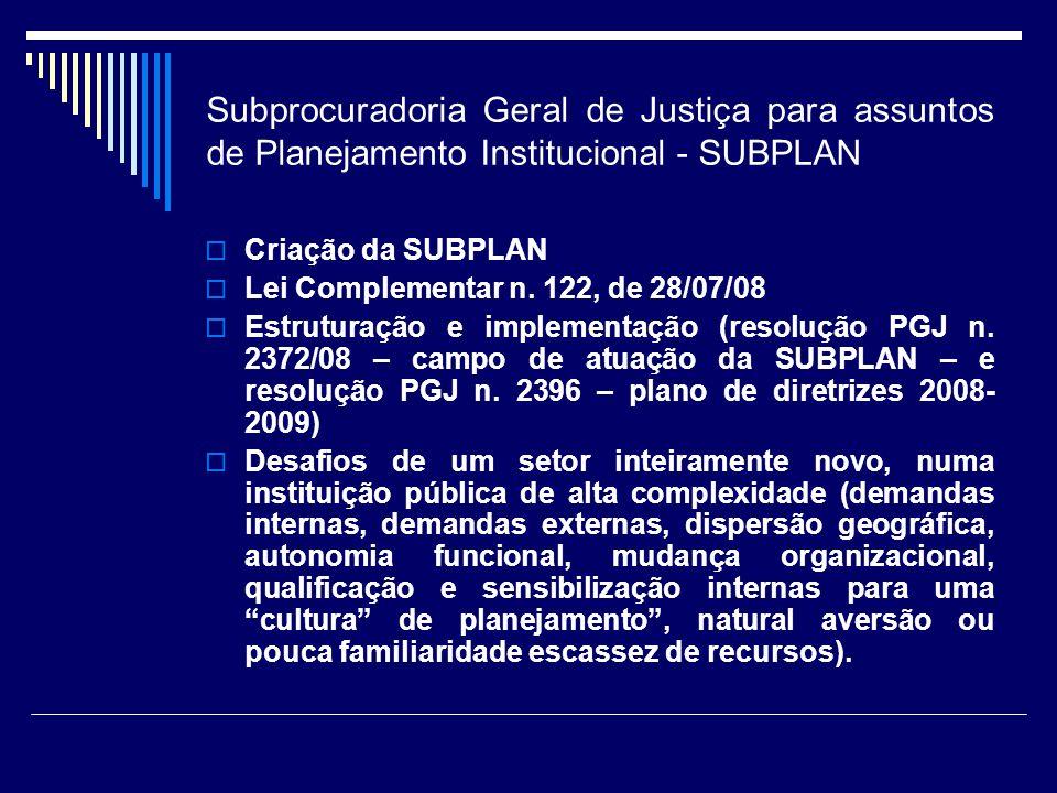 Subprocuradoria Geral de Justiça para assuntos de Planejamento Institucional - SUBPLAN
