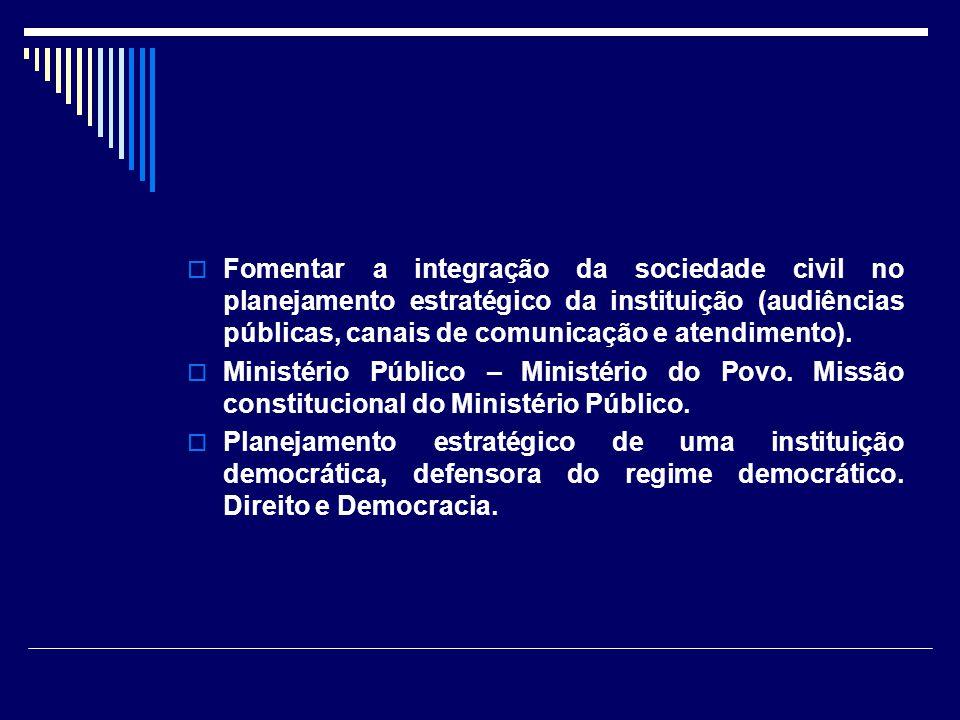 Fomentar a integração da sociedade civil no planejamento estratégico da instituição (audiências públicas, canais de comunicação e atendimento).