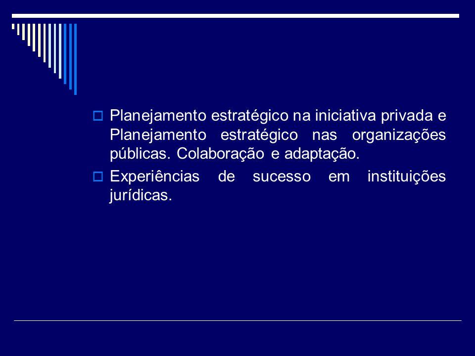 Planejamento estratégico na iniciativa privada e Planejamento estratégico nas organizações públicas. Colaboração e adaptação.