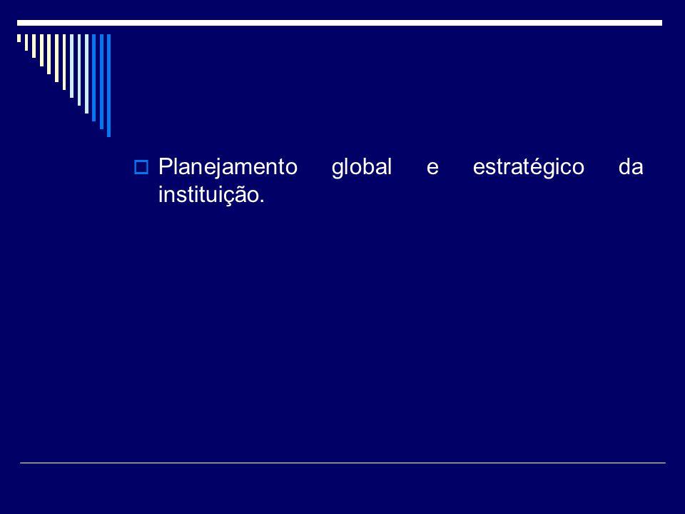 Planejamento global e estratégico da instituição.