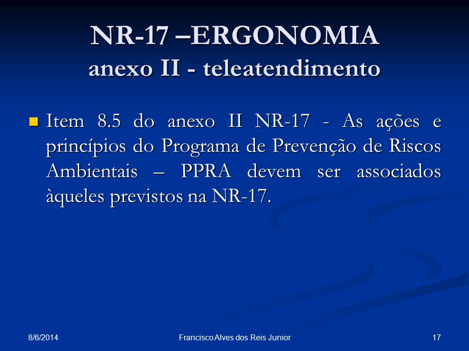 NR-17 –ERGONOMIA anexo II - teleatendimento