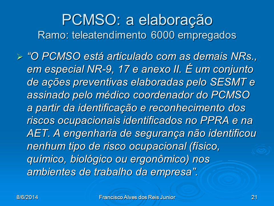 PCMSO: a elaboração Ramo: teleatendimento 6000 empregados