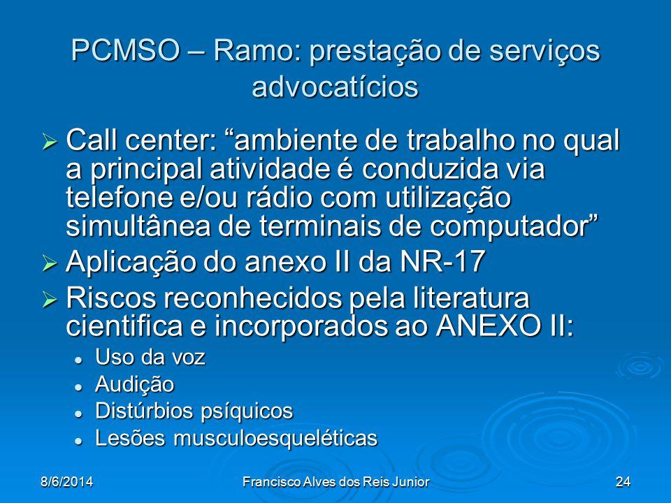 PCMSO – Ramo: prestação de serviços advocatícios