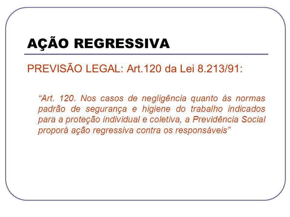 AÇÃO REGRESSIVA PREVISÃO LEGAL: Art.120 da Lei 8.213/91: