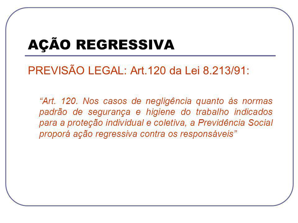 AÇÃO REGRESSIVA PREVISÃO LEGAL: Art.120 da Lei 8.213/91: