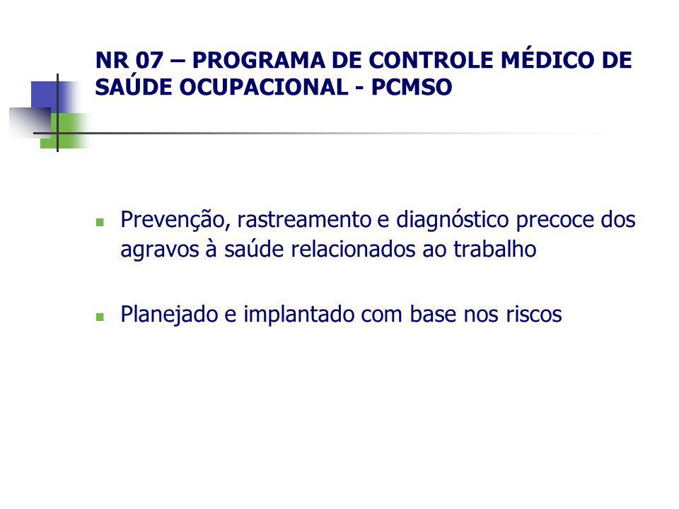 NR 07 – PROGRAMA DE CONTROLE MÉDICO DE SAÚDE OCUPACIONAL - PCMSO