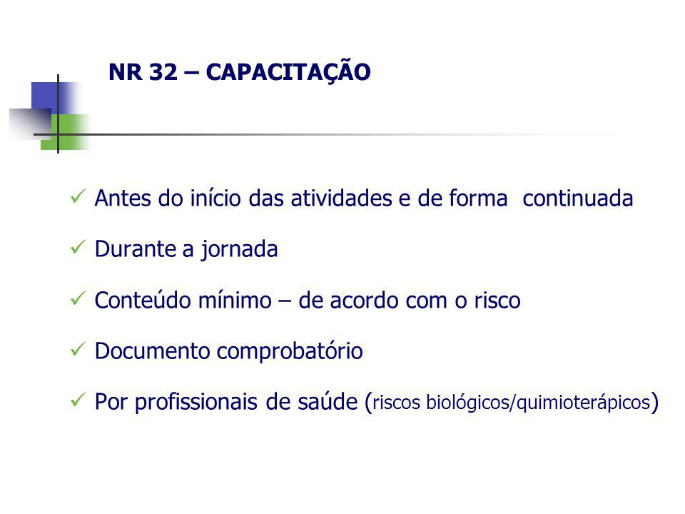 NR 32 – CAPACITAÇÃO Antes do início das atividades e de forma continuada. Durante a jornada. Conteúdo mínimo – de acordo com o risco.