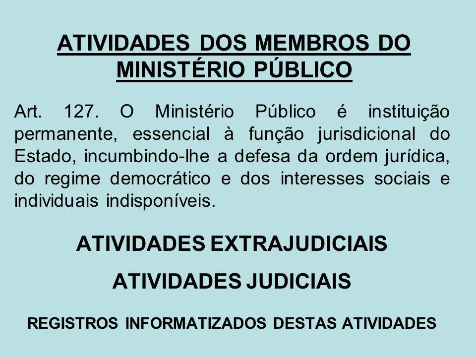 ATIVIDADES DOS MEMBROS DO MINISTÉRIO PÚBLICO