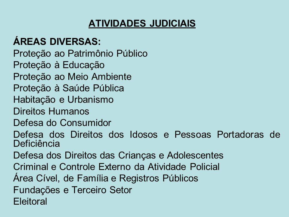 ATIVIDADES JUDICIAIS ÁREAS DIVERSAS: Proteção ao Patrimônio Público. Proteção à Educação. Proteção ao Meio Ambiente.