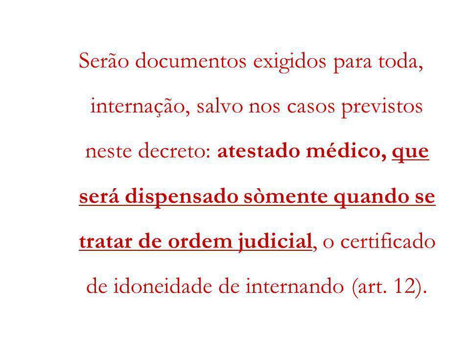 Serão documentos exigidos para toda, internação, salvo nos casos previstos neste decreto: atestado médico, que será dispensado sòmente quando se tratar de ordem judicial, o certificado de idoneidade de internando (art.