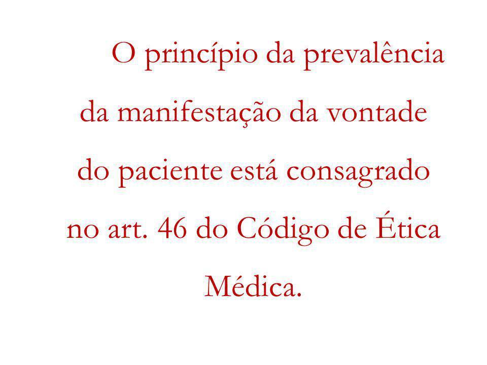 O princípio da prevalência da manifestação da vontade do paciente está consagrado no art.