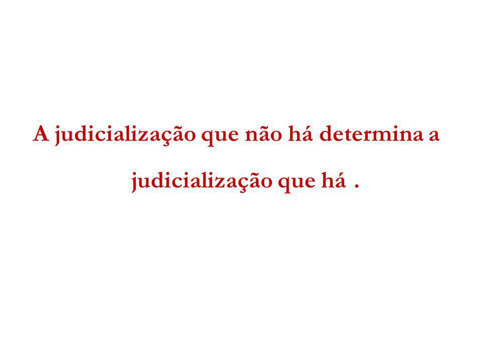 A judicialização que não há determina a judicialização que há .