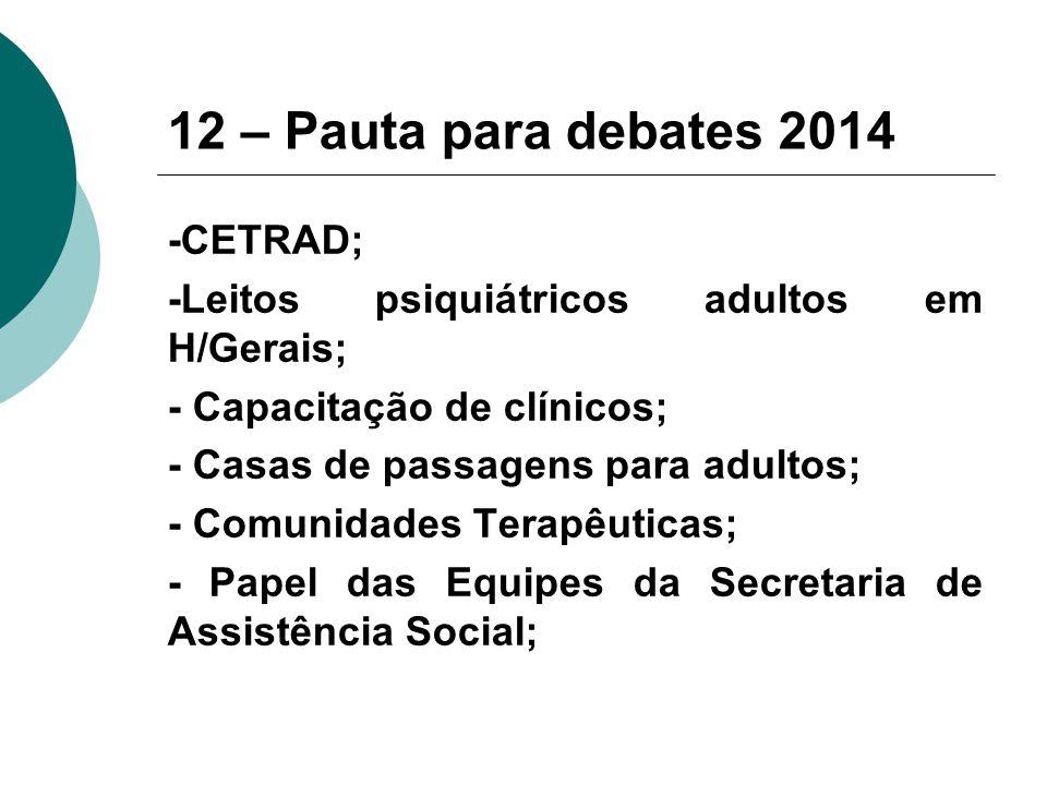 12 – Pauta para debates 2014 -CETRAD;
