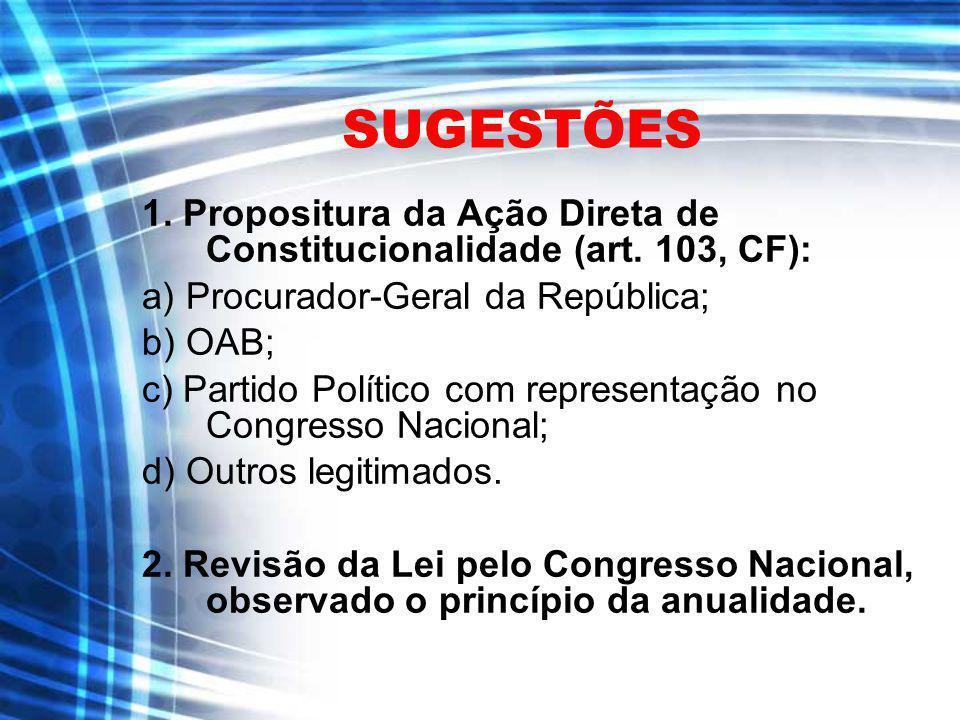 SUGESTÕES 1. Propositura da Ação Direta de Constitucionalidade (art. 103, CF): a) Procurador-Geral da República;