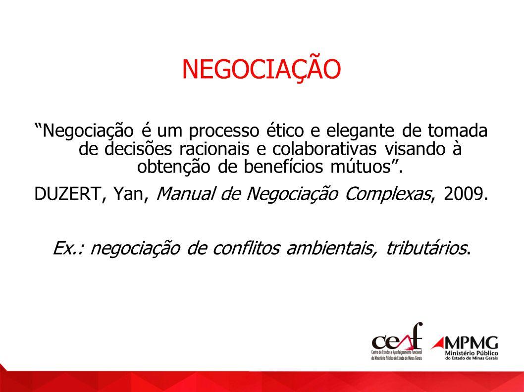 NEGOCIAÇÃO Negociação é um processo ético e elegante de tomada de decisões racionais e colaborativas visando à obtenção de benefícios mútuos .