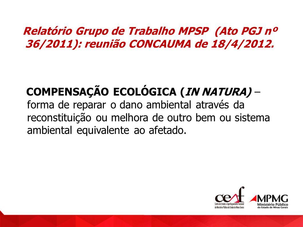 Relatório Grupo de Trabalho MPSP (Ato PGJ nº 36/2011): reunião CONCAUMA de 18/4/2012.