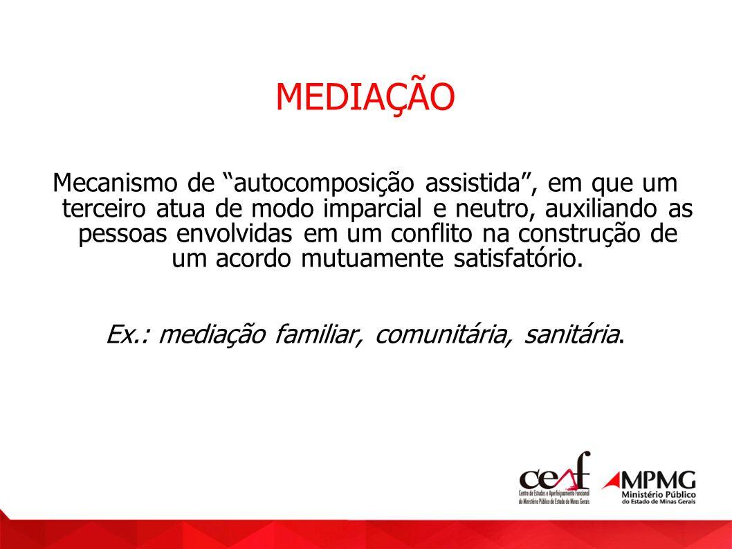Ex.: mediação familiar, comunitária, sanitária.