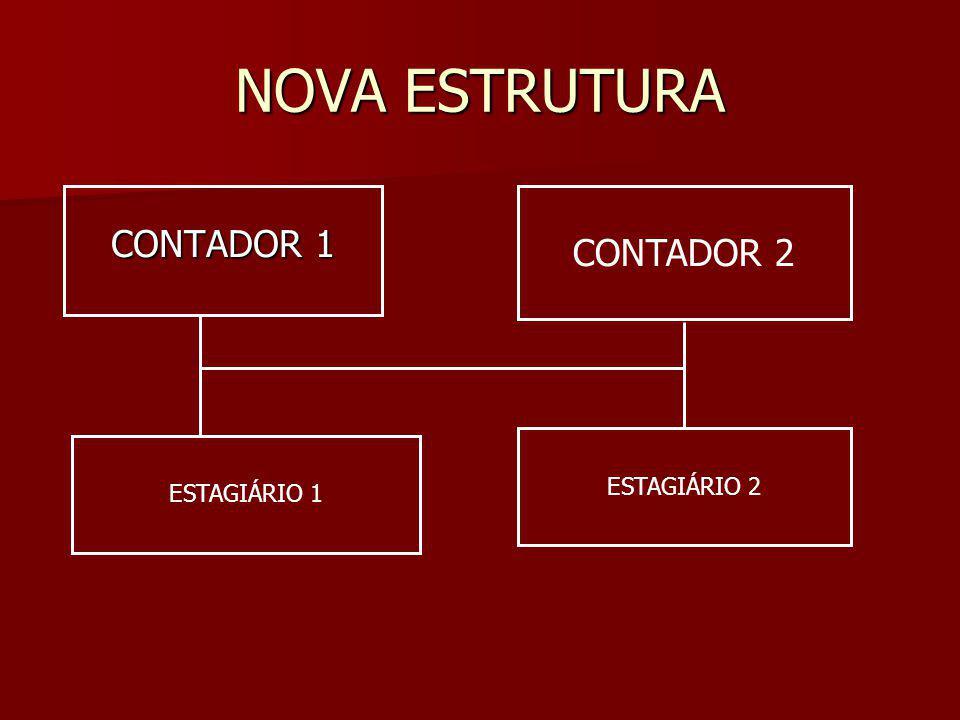 NOVA ESTRUTURA CONTADOR 1 CONTADOR 2 ESTAGIÁRIO 2 ESTAGIÁRIO 1