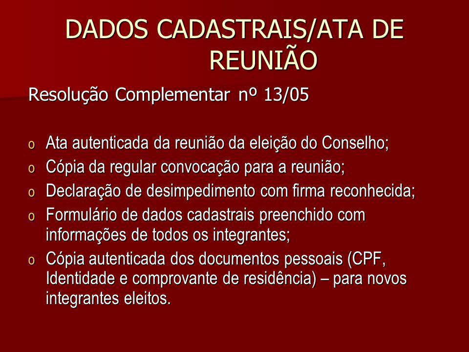 DADOS CADASTRAIS/ATA DE REUNIÃO