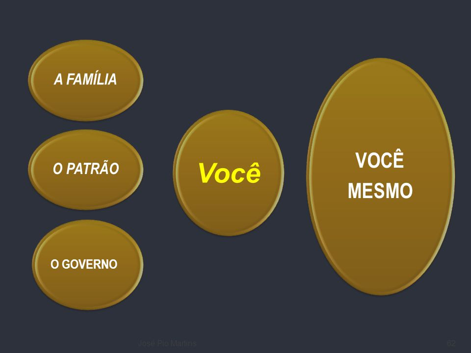 A FAMÍLIA VOCÊ MESMO Você O PATRÃO O GOVERNO José Pio Martins
