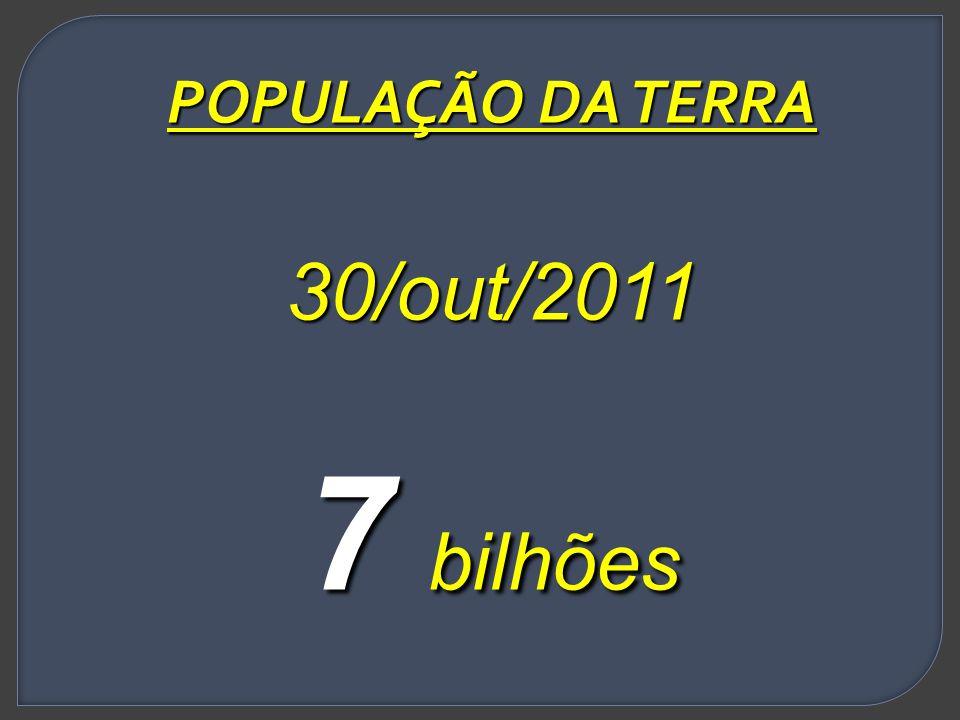 POPULAÇÃO DA TERRA 30/out/2011 7 bilhões
