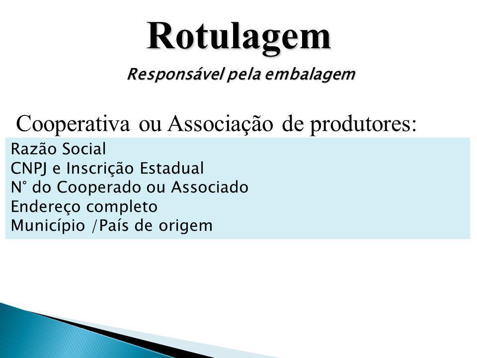 Rotulagem Cooperativa ou Associação de produtores: