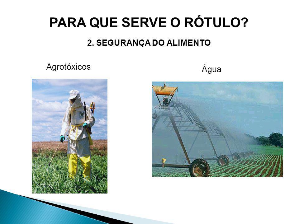 PARA QUE SERVE O RÓTULO 2. SEGURANÇA DO ALIMENTO Agrotóxicos Água