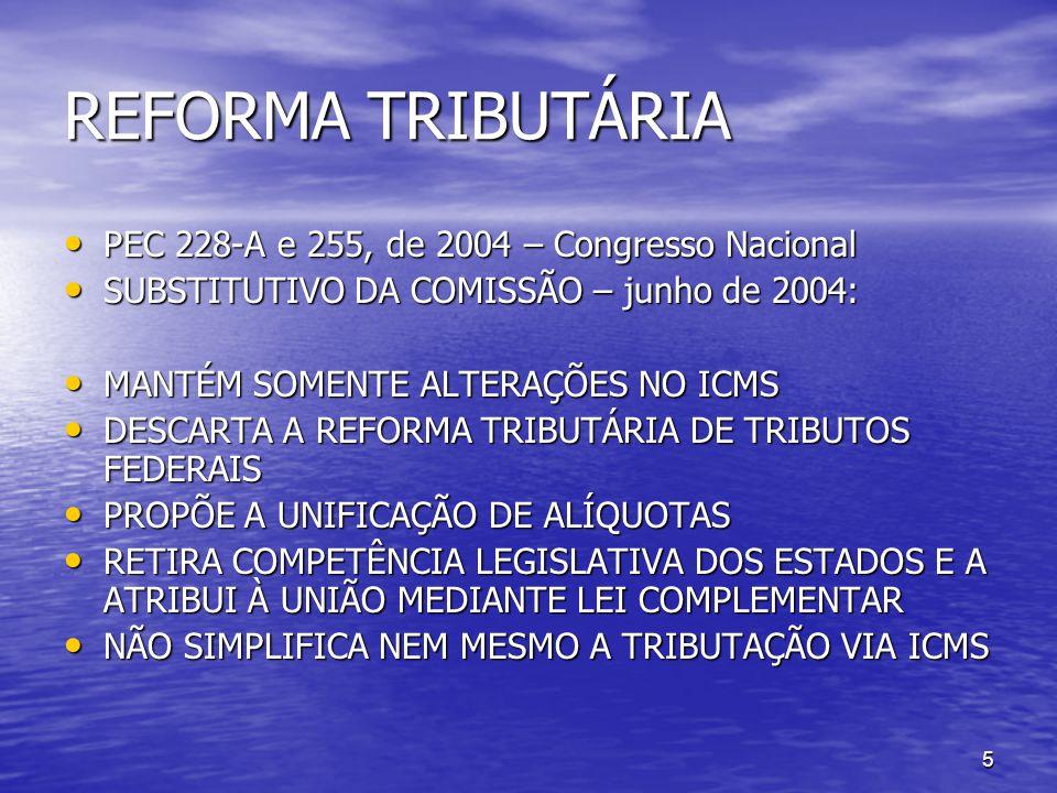 REFORMA TRIBUTÁRIA PEC 228-A e 255, de 2004 – Congresso Nacional