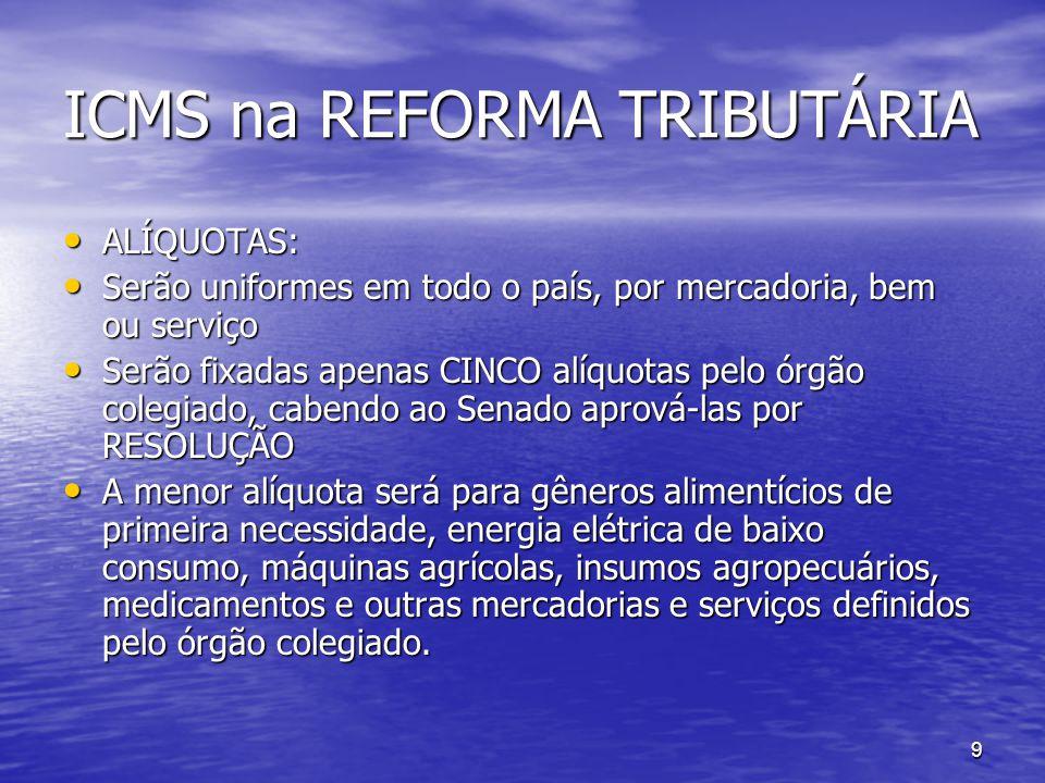 ICMS na REFORMA TRIBUTÁRIA