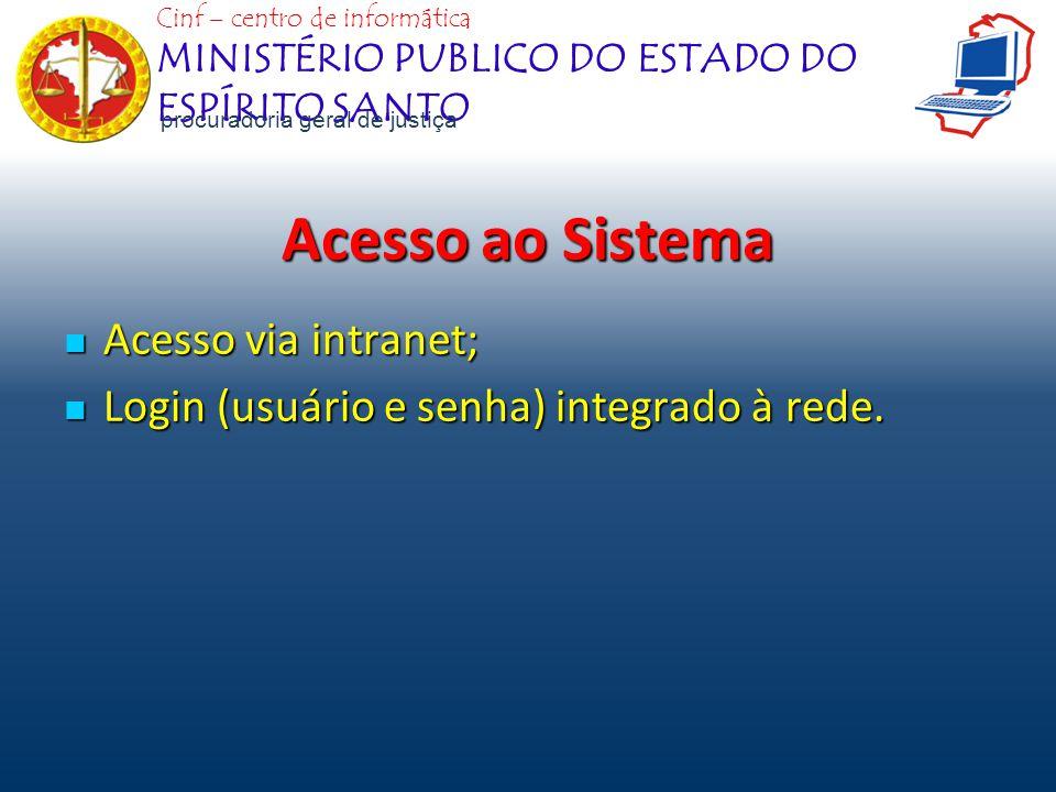 Acesso ao Sistema Acesso via intranet;