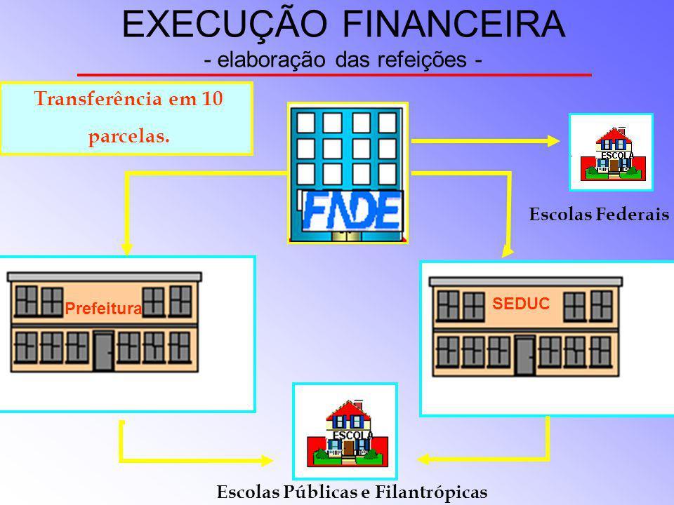 EXECUÇÃO FINANCEIRA - elaboração das refeições -
