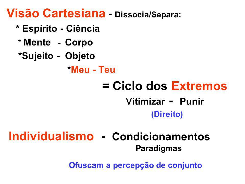 Visão Cartesiana - Dissocia/Separa: