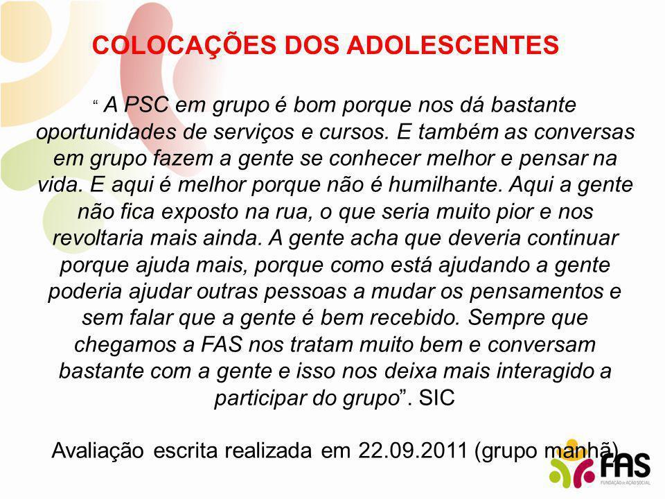 COLOCAÇÕES DOS ADOLESCENTES