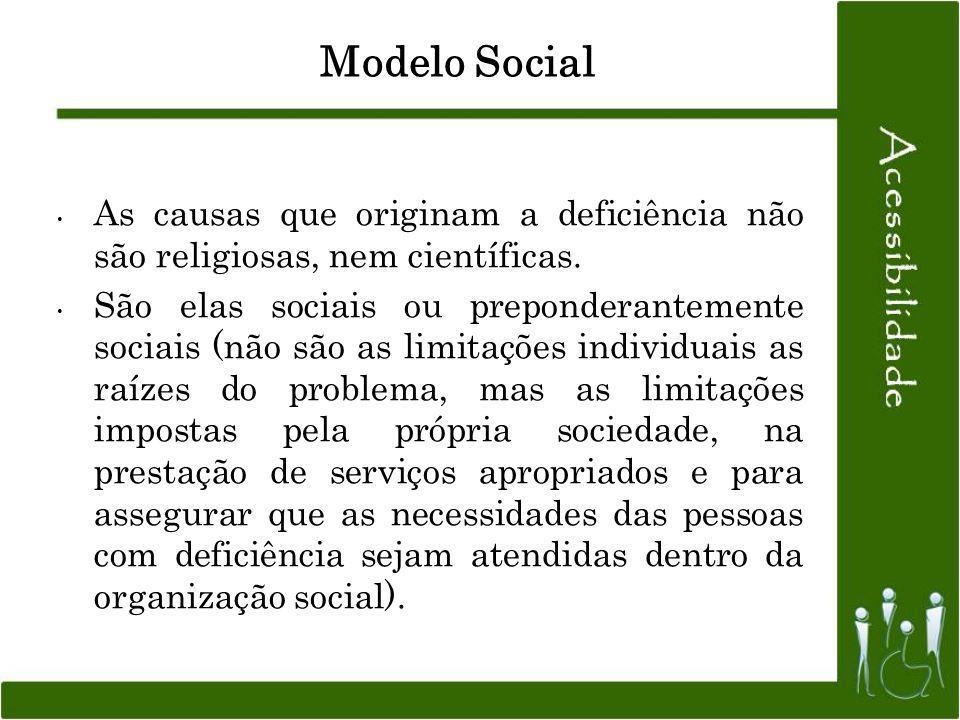 Modelo Social As causas que originam a deficiência não são religiosas, nem científicas.