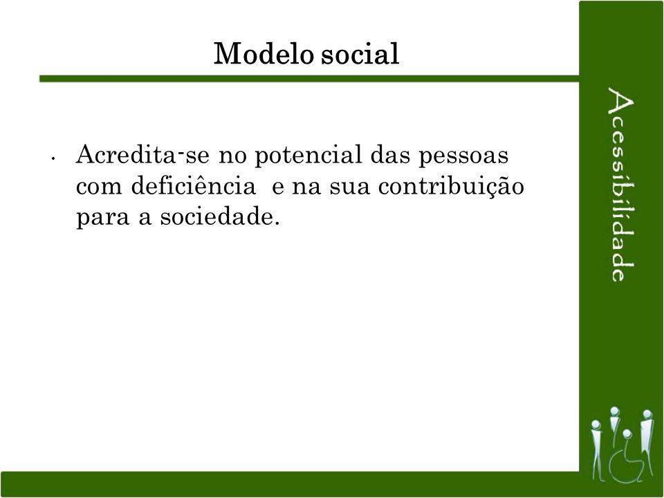 Modelo social Acredita-se no potencial das pessoas com deficiência e na sua contribuição para a sociedade.