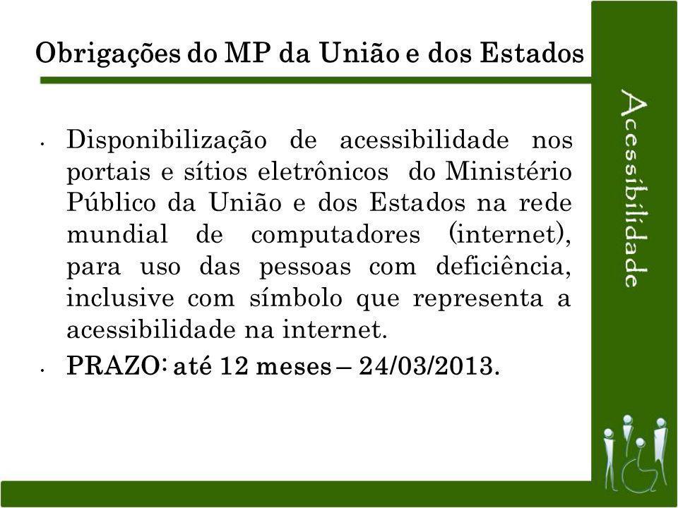 Obrigações do MP da União e dos Estados