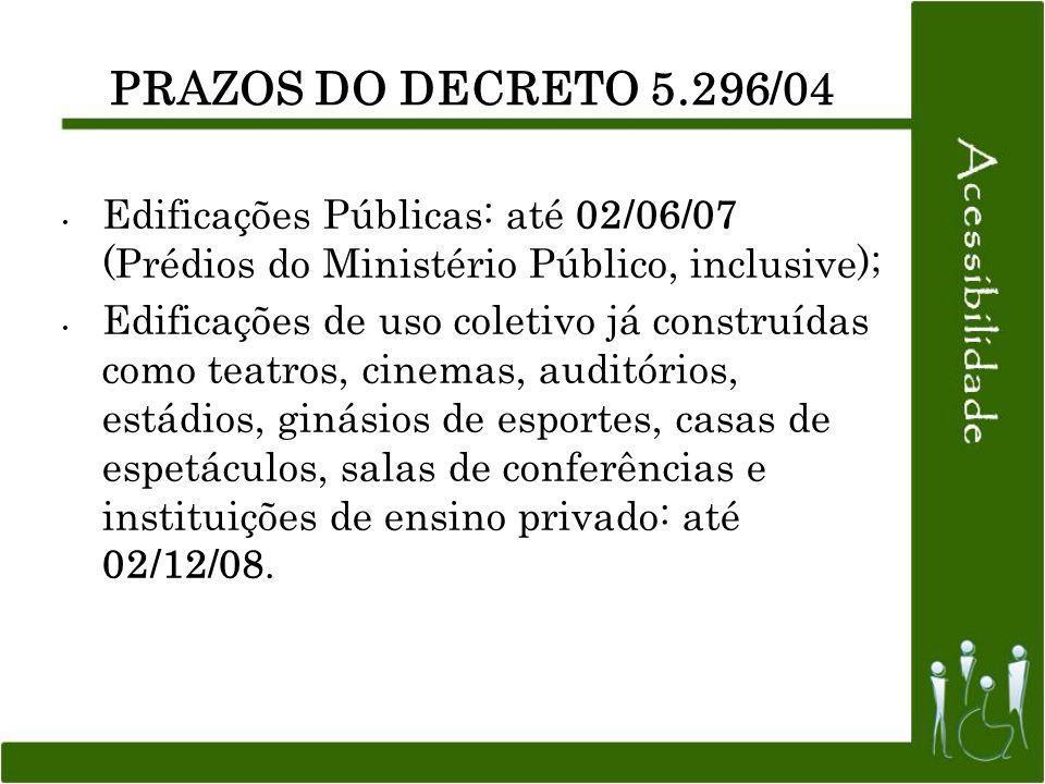 PRAZOS DO DECRETO 5.296/04 Edificações Públicas: até 02/06/07 (Prédios do Ministério Público, inclusive);