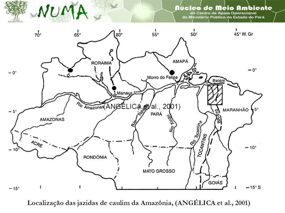 (ANGÉLICA et al., 2001) Localização das jazidas de caulim da Amazônia, (ANGÉLICA et al., 2001)