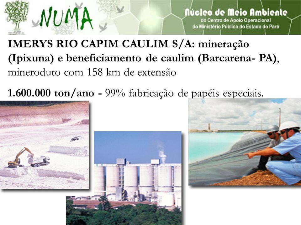 IMERYS RIO CAPIM CAULIM S/A: mineração (Ipixuna) e beneficiamento de caulim (Barcarena- PA), mineroduto com 158 km de extensão