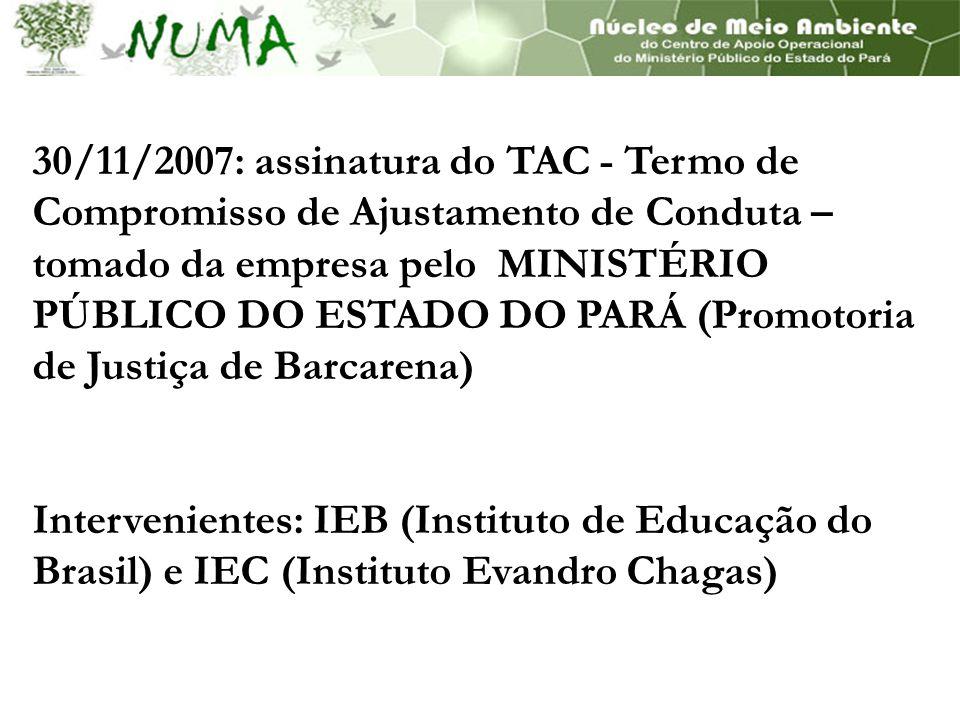 30/11/2007: assinatura do TAC - Termo de Compromisso de Ajustamento de Conduta – tomado da empresa pelo MINISTÉRIO PÚBLICO DO ESTADO DO PARÁ (Promotoria de Justiça de Barcarena)
