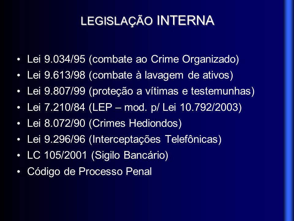 LEGISLAÇÃO INTERNA Lei 9.034/95 (combate ao Crime Organizado)