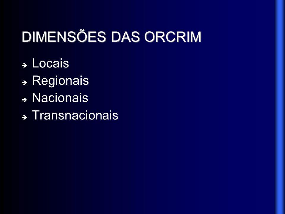 DIMENSÕES DAS ORCRIM Locais Regionais Nacionais Transnacionais