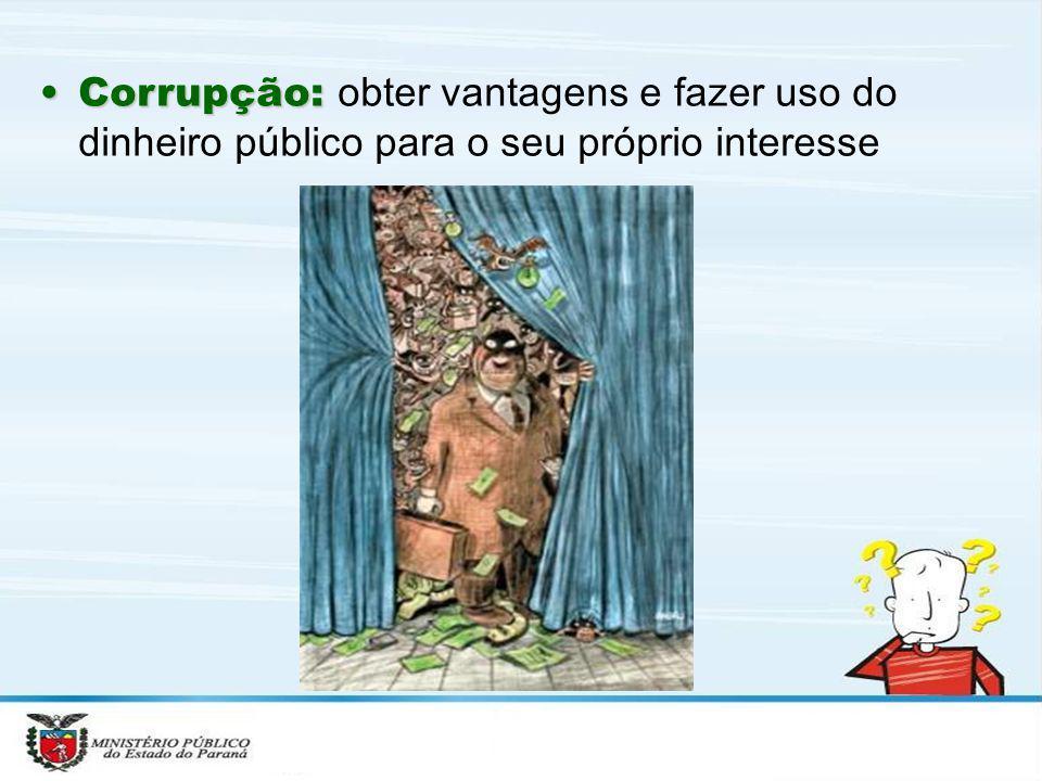 Corrupção: obter vantagens e fazer uso do dinheiro público para o seu próprio interesse