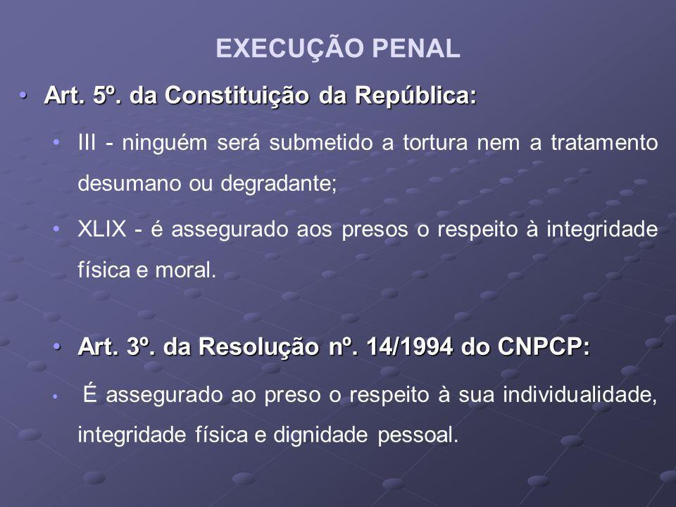 EXECUÇÃO PENAL Art. 5º. da Constituição da República: