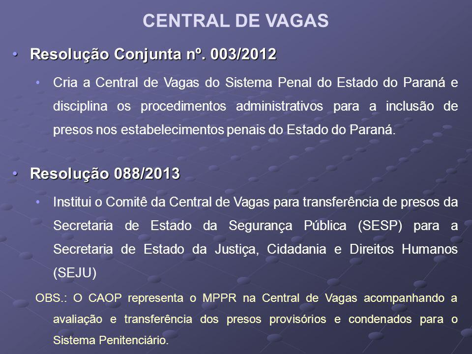 CENTRAL DE VAGAS Resolução Conjunta nº. 003/2012 Resolução 088/2013