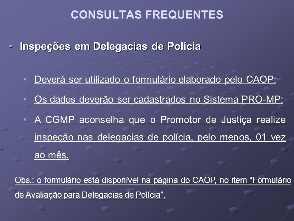 CONSULTAS FREQUENTES Inspeções em Delegacias de Polícia