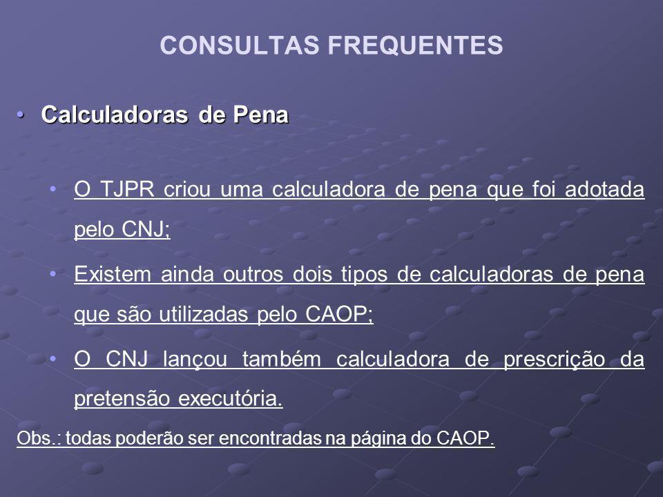 CONSULTAS FREQUENTES Calculadoras de Pena